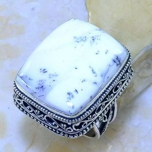 Dendritic Opal Vintage Style Silver Ring Size 8.25